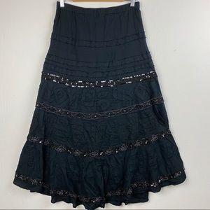 Chico's Black Tiered Boho Peasant Maxi Skirt